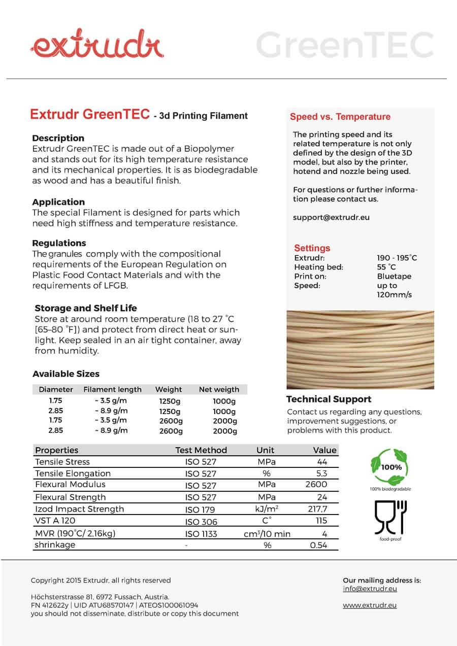 Green TEC Filament Datenblatt